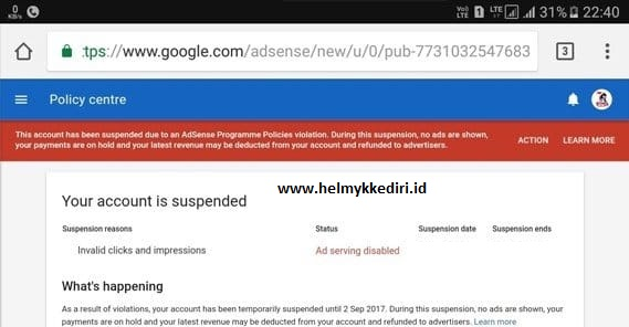 suspend dan banned akun adsensev