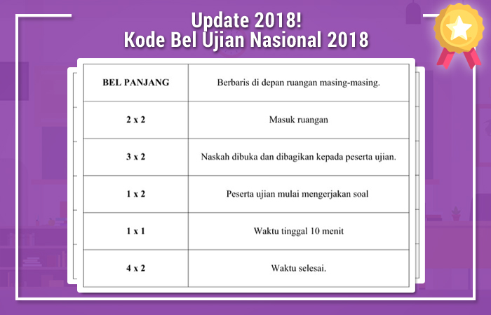 Kode Bel Ujian Nasional 2018