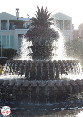 This is the famous Pineapple fountain in Charleston, SC. Just think about how amazing that is. The water has to go through the statue in just the right way in order to spew out of all the little places and then make the perfect little water spouts. Isn't it gorgeous!