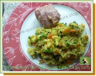 Vie quotidienne de FLaure : Riz mélangé à des légumes et parfumé au curry