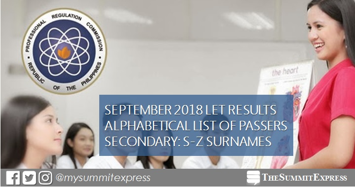 S-Z Passers LET Result: September 2018 Secondary Level