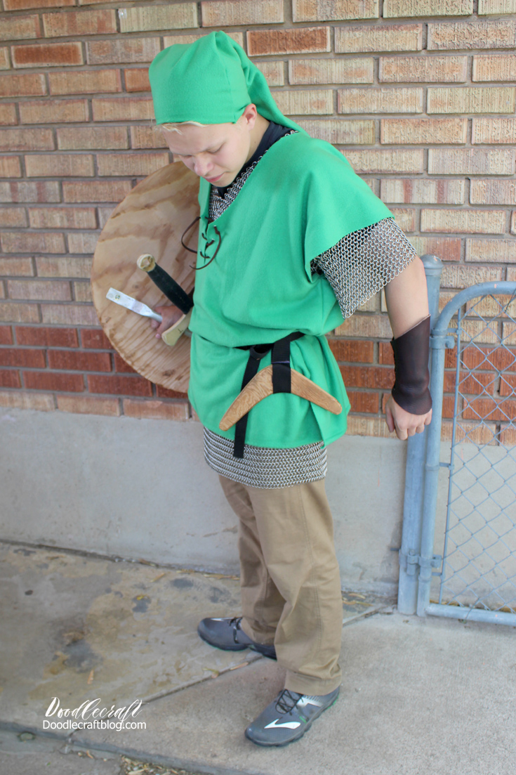 Doodlecraft legend of zelda link cosplay costume we used a simple belt tan pants regular shoes and a big smile baditri Images