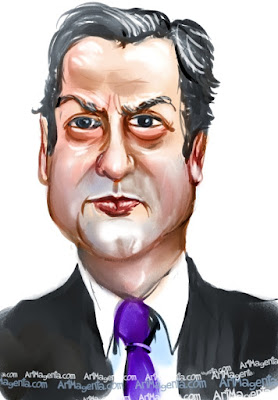 David Cameron caricature cartoon. Portrait drawing by caricaturist Artmagenta