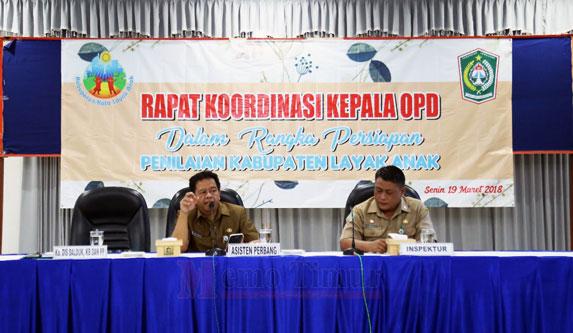 Rapat Koordinasi Kepala OPD dalam rangka persiapan penilaian KLA