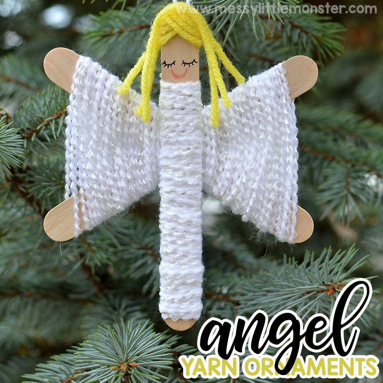 Yarn Angel Ornaments. Christmas crafts for kids.