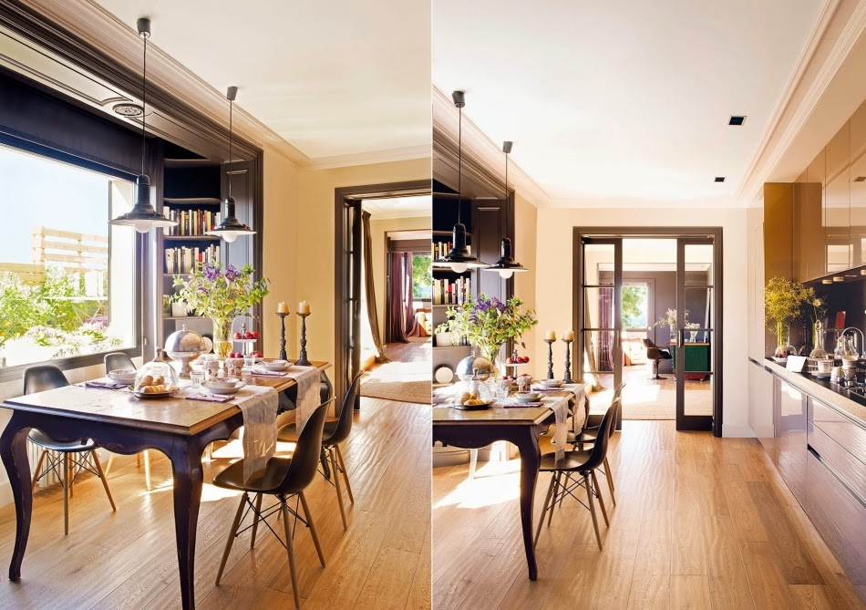 Mieszkanie na poddaszu z czarnymi akcentami, wystrój wnętrz, wnętrza, urządzanie domu, dekoracje wnętrz, aranżacja wnętrz, inspiracje wnętrz,interior design , dom i wnętrze, aranżacja mieszkania, modne wnętrza, styl nowoczesny, modern style, styl klasyczny, sztukateria, czarne dodatki, jadalnia, stół
