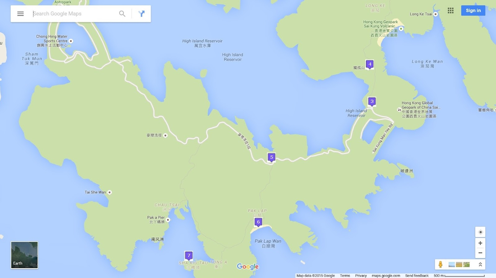 Map, Walking Tour, Sai Kun Country Park, Hong Kong