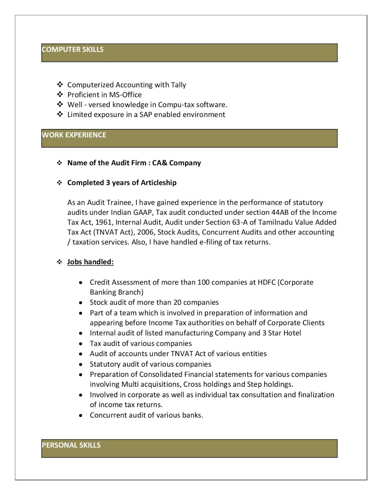 Experienced Articleship Resume Format Download In Ms Word Resume