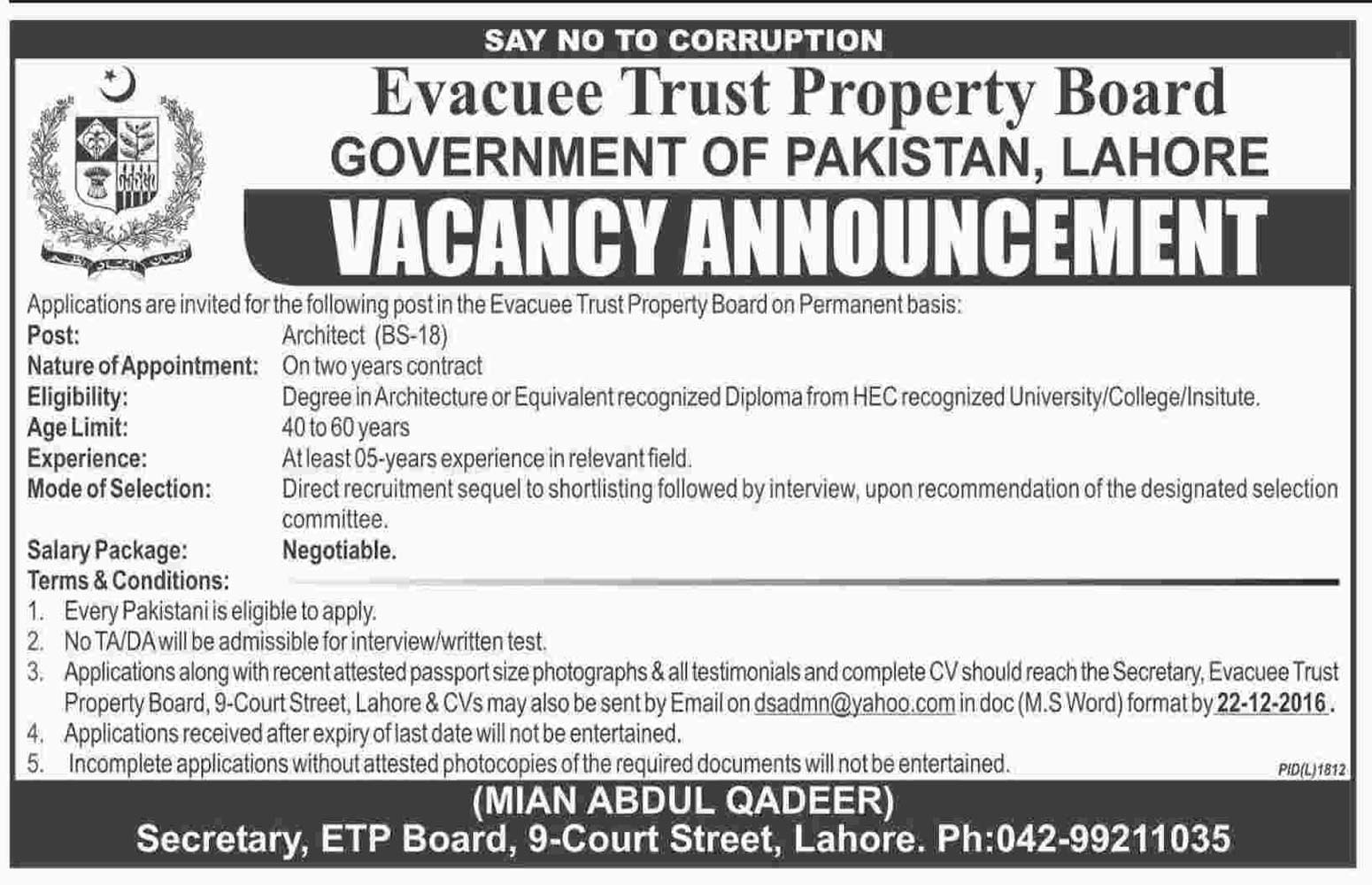 Evacuee Trust Property Board Careers in Lahore Arthritect Jobs