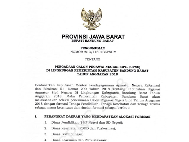 Formasi dan Persyaratan Pendaftaran CPNS Kab. Bandung Barat 2018