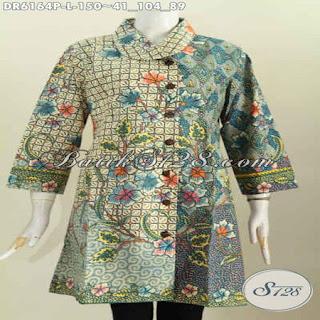 blus batik modern lengan pendek