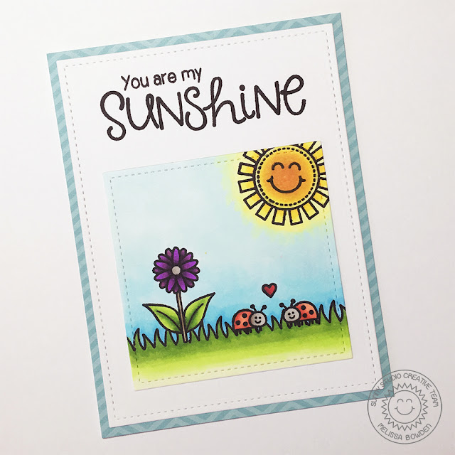 Sunny Studio: You Are My Sunshine card by Melissa Bowden (using Sunny Sentiments & Backyard Bugs stamp sets)