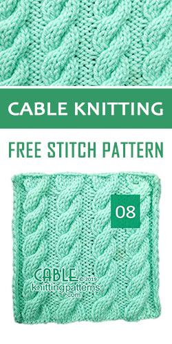 Cable Knitting Free Stitch Pattern 08, quite easy to make with just a 6 row pattern.
