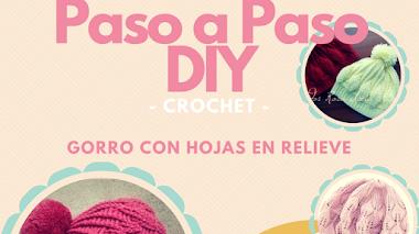 Gorro con hojas en relieve - Crochet