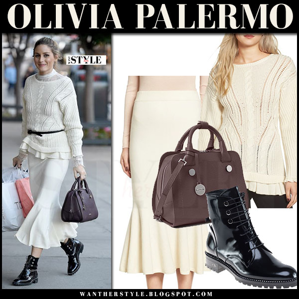 Olivia Palermo in cream knit chelsea28 sweater, cream fluted chelsea28 midi skirt and black army boots dior what she wore