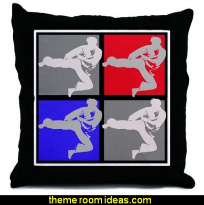 Karate Throw Pillow  martial arts theme bedrooms - Karate bedroom ideas - Martial Arts bedroom decor - Martial Arts Bedding - Kung Fu Fighting - Oriental style decorating Asian themed - taekwondo