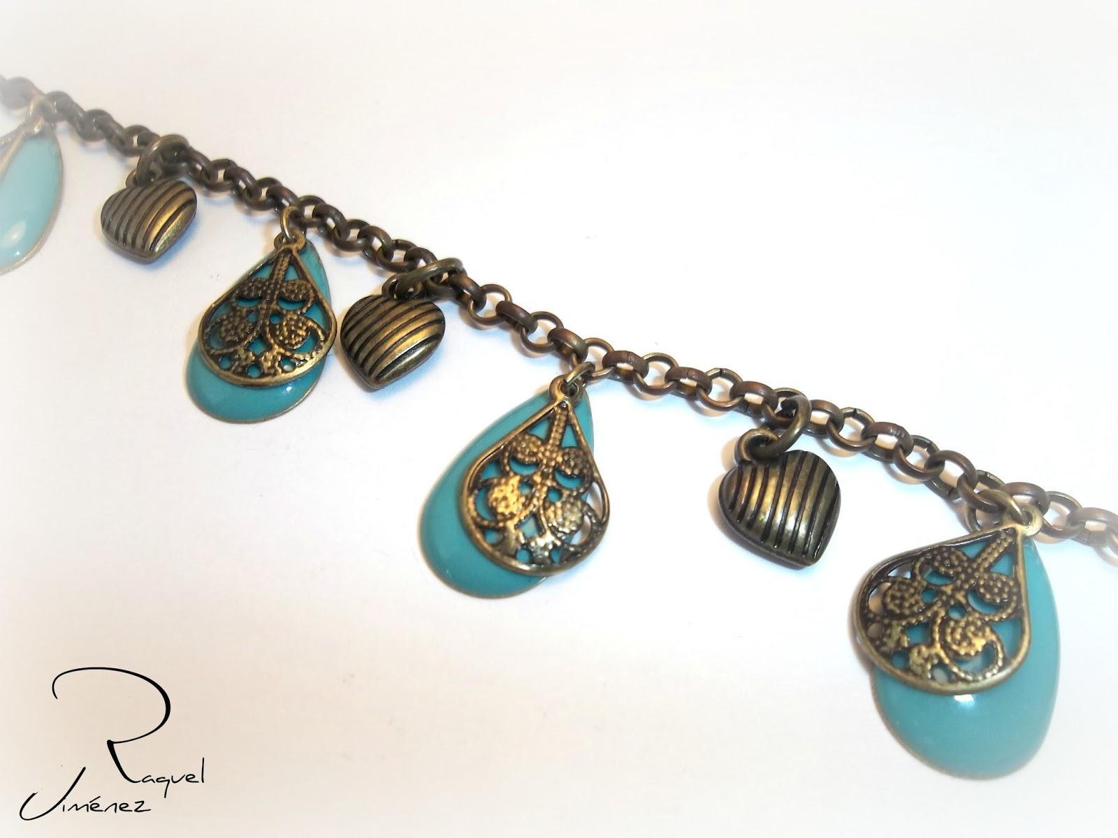 pulsera bronce y turquesa