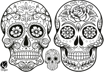 Blog non identifi mouton et sugar skulls - Dessin tete de mort mexicaine ...