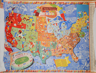 Map of United Stats showing all of the college football teams as players in uniform