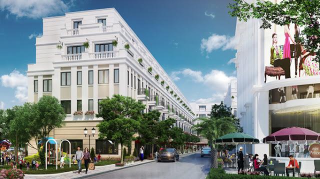 Phối cảnh mặt phố kinh doanh của Shophouse Thái Bình tại đường nội bộ, vườn hoa, công viên