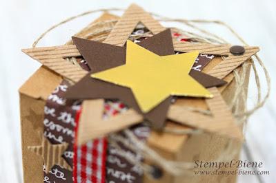 Schokoladenverpackung; Nikolausgeschenke basteln, Sternenbox stampin up; Stampin Up Goodies; Stempel-Biene; Goodies Weihnachtsgeschenke; Stampin Up Frühjahrskatalog 2016