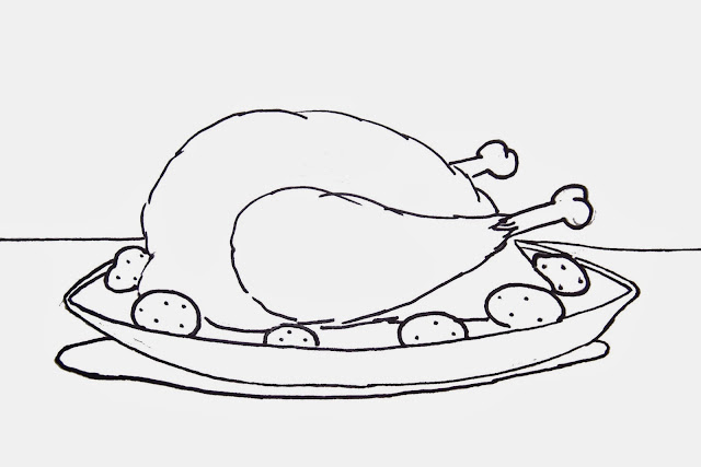 Cooked Turkey Dinner Free Coloring Sheet Printable