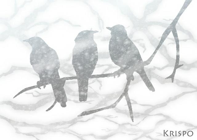 silueta de tres pajaros sobre rama mientras nieva