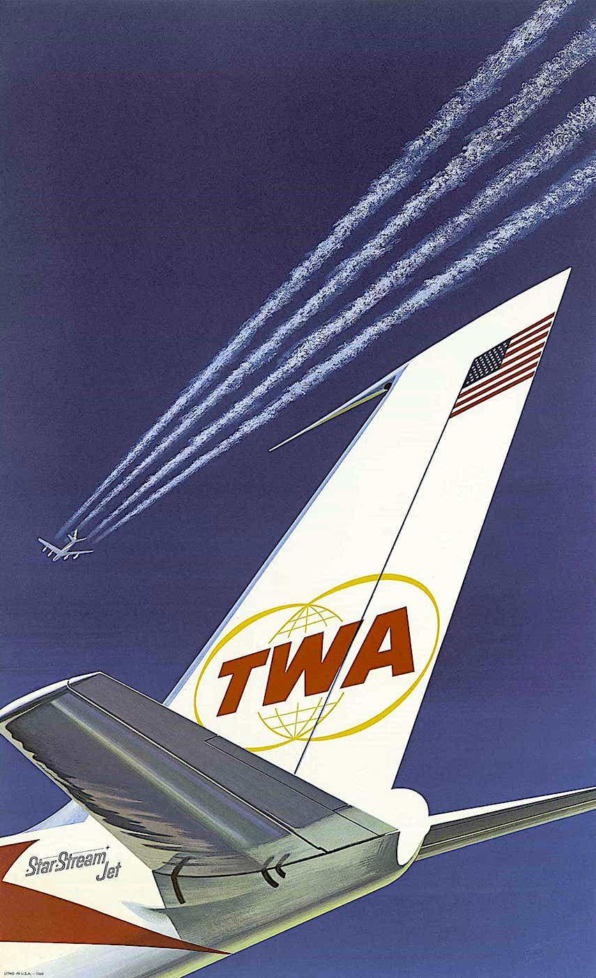 poster art of a TWA Star Stream passenger jet, 1960