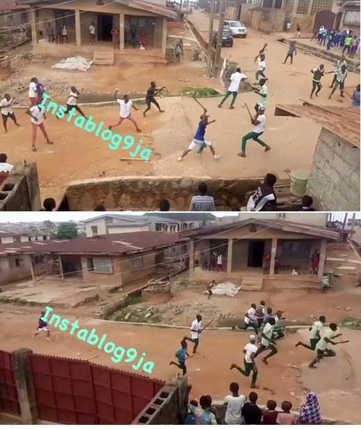 2 Schools Fight With Cutlasses In Ibadan Over Girlfriend -(Pics/video)