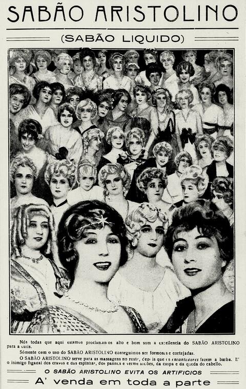 Propaganda do Sabão Aristolino no final dos anos 10 que promovia a beleza da mulher