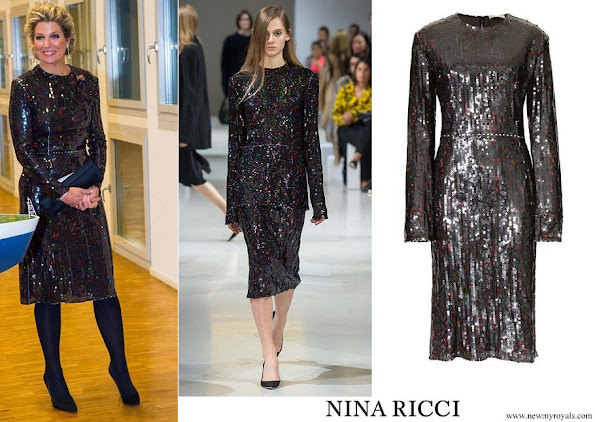 Queen Maxima wore Nina Ricci Sequin dress from Fall 2015 collection