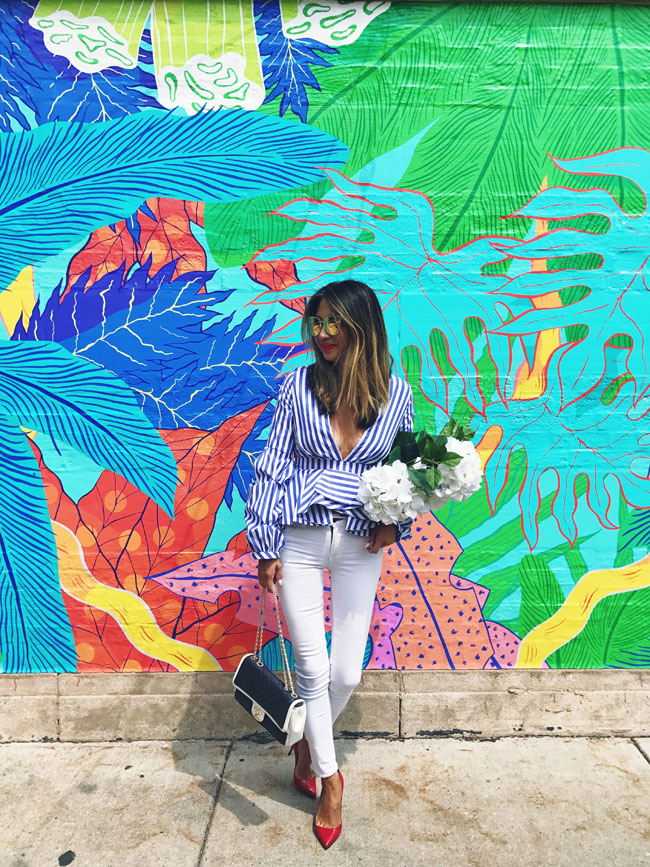 Chicago Murals, Blue Striped Peplum Top, Where to Take Photos in Chicago, Wicker Park Mural