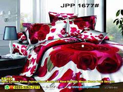 Sprei Custom Katun Jepang Panel Bunga 3D Rose Kelopak Marah Marun Putih Dewasa