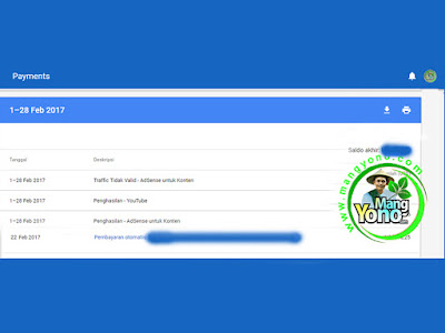 Pembayaran Google Adsense Bulan Pebruari 2017
