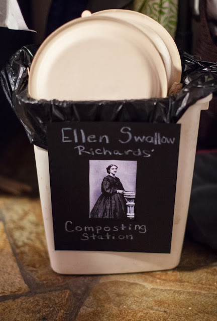 Ellen Swallow Richards coined the word ecology and we composted all our partyware in her honor after our Science Party!