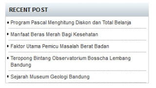 Membuat Widget Recent Post Sederhana di Blog