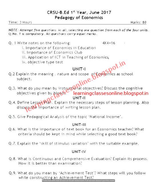 Pedagogy of Economics Question Paper