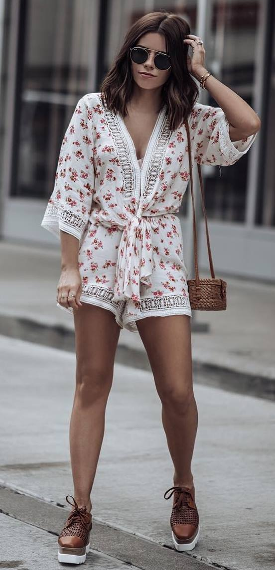 what to wear this summer : printed romper + bag + loafers