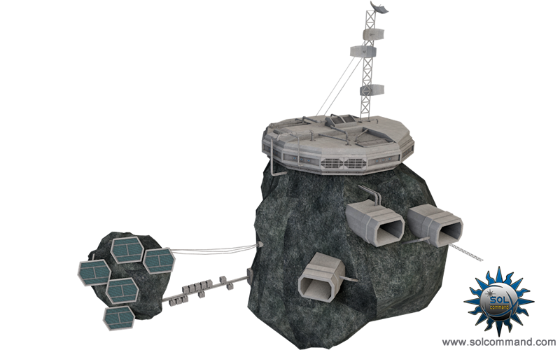 Kono asteroid station 3d model free download solcommand original design concept art trader base spacestation business guerilla resupply motherbase solar panels listening post military sector