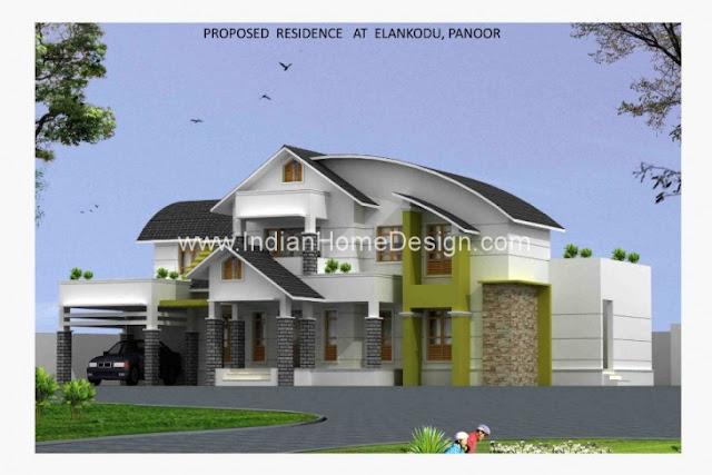 3200 sq ft 4 bed room attractive Kerala Home Design