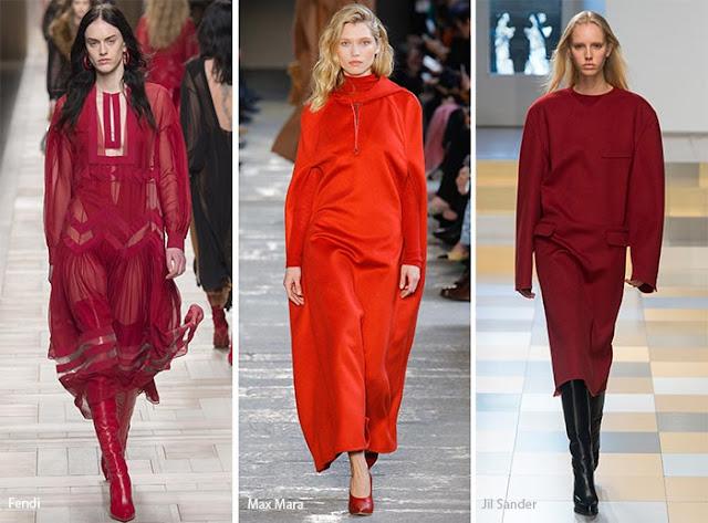 Тренды осень зима 2017 2018 красный цвет на подиуме