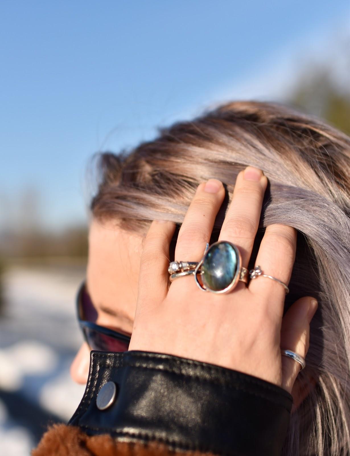 Monika Faulkner outfit inspiration - labradorite ring