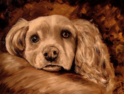 sepia oil painting of a spaniel, pet portrait by karen robinson, animal artist