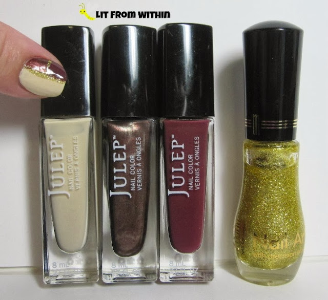 Bottle shot:  Julep Alexandra, Chloe, and Aisha, with a Milani gold glitter striper.