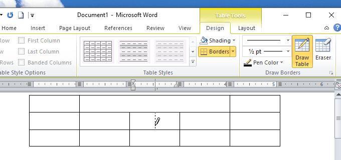 Dùng Draw Table để chia ô bảng trong Word