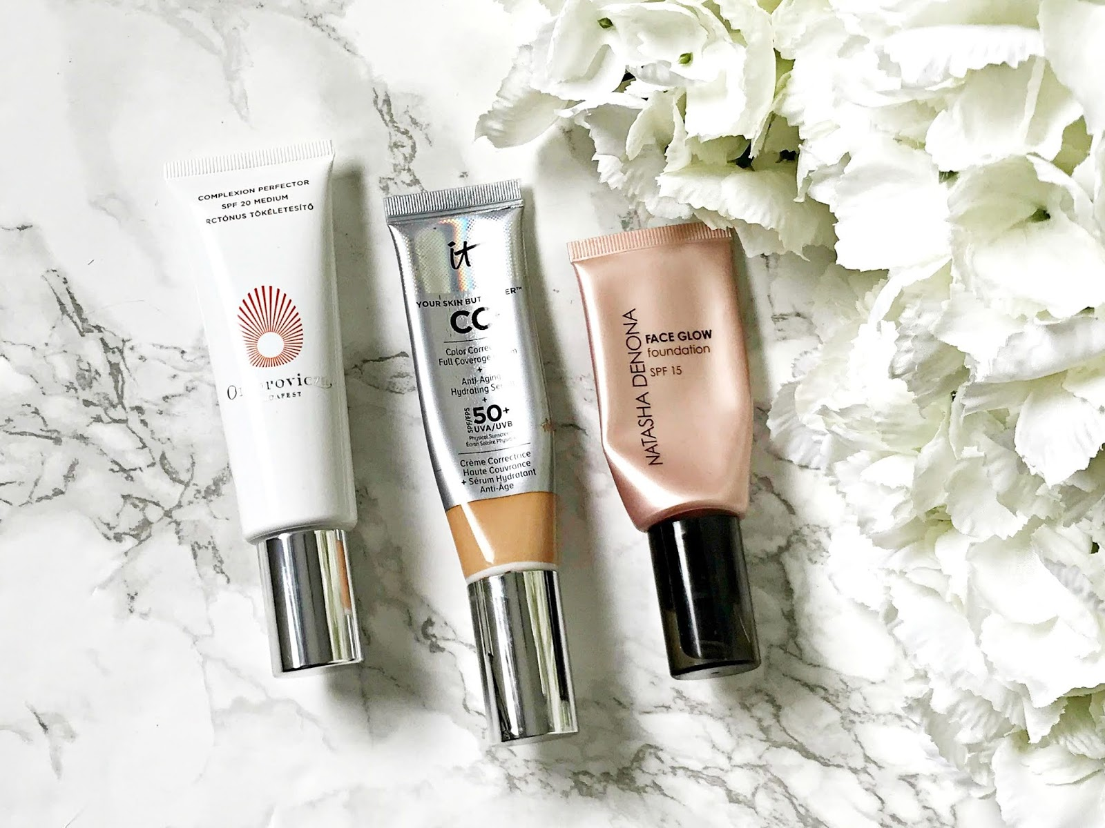 Omorovicza, Complexion Perfector review, It Cosmetics CC Cream review, Natasha Denona Face Glow review,
