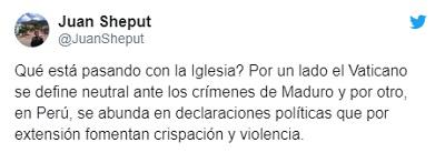 Twitter Juan Sheput contra Barreto