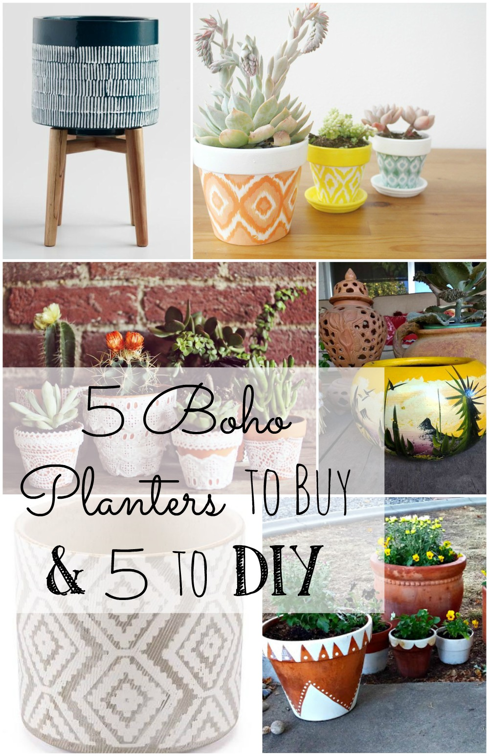 A collection of Boho planters to buy OR DIY!