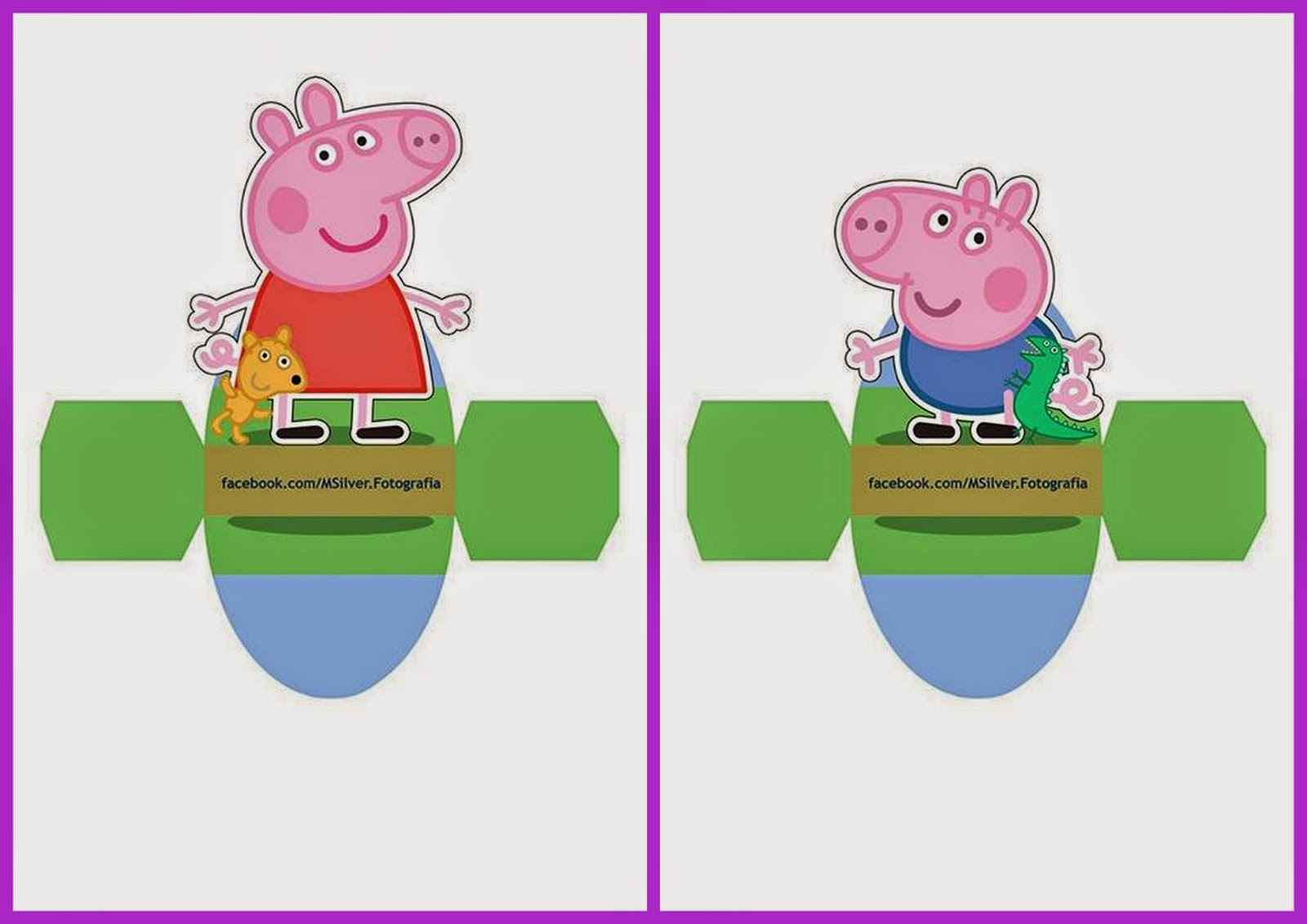Peppa and George Pig:  Free Printable Dress Shaped Boxes.