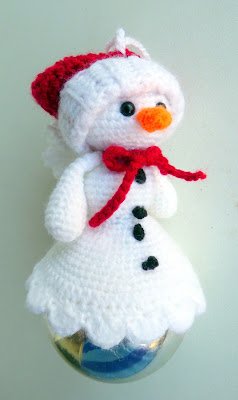 Crochet Christmas Silver Bauble topped with snow girl in santa hat